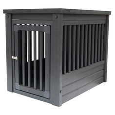 Showcasing Mission-style sides with a latched door and charcoal finish, this handsome pet crate is a stylish and cozy home for Fido.