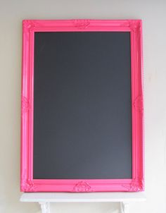 EXTRA LARGE Chalkboard Bright Pink Playroom Decor Girls Room Wedding Hot Pink Neon MAGNETIC Educational Bulletin Board Memo Board 30inx42in. $219.00, via Etsy.
