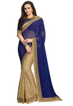 #Blue And #Beige #Georgette And #Jacquard #Chiffon #Saree With #Blouse.  Blue And Beige Georgette And Jacquard Chiffon Saree designed with Zari,Resham Embroidery With Stone Work And Lace Border.  INR:3,067.00  With Exclusive Discounts  Grab:http://tinyurl.com/jfzm4ys