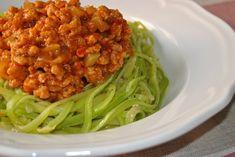 Boloñesa vegana de soja texturizada con espaguetis de calabacín Chana Masala, Chili, Cabbage, Spaghetti, Soup, Healthy Recipes, Vegetables, Ethnic Recipes, 3