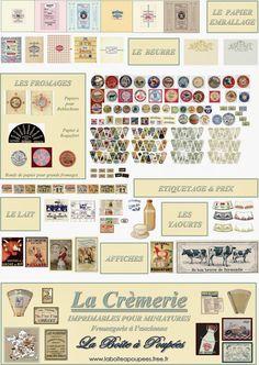 Planche imprimable thème LA CREMERIE offert gracieusement par Charlie Miniatures. En découvrir d'autres sur http://www.laboiteapoupees.free.fr