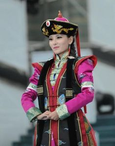 Another contestant in the Mongolian costume competition.