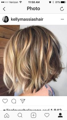 Short Haircut with Sass - 60 Short Shag Hairstyles That You Simply Can't Miss - The Trending Hairstyle Blonde Highlights On Dark Hair Short, Balayage Hair Blonde Medium, How To Bayalage Hair, Short Brown Hair, Bronde Hair, Brown Bob With Highlights, Medium Hair Styles, Curly Hair Styles, Honey Hair