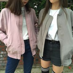korean fashion casual street bomber jacket pink pale green grey shorts black jeans navy denim