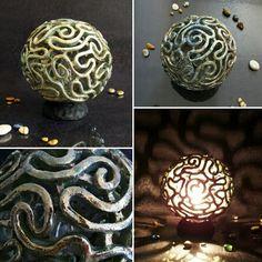 Raku pottery brain coral lounge lamp, bed Side lamp.