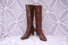 Vintage 70s Tall Mahogany Leather Boots  Zip by RubyChicBoutique, $48.00