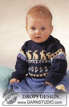 DROPS trui met konijnenmotief, broek en sokken van Safran.   Gratis patronen van DROPS Design.