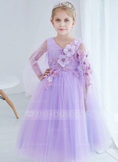 [AU$ 75.36] A-Line/Princess Ankle-length Flower Girl Dress - Organza/Satin/Tulle Long Sleeves V-neck With Flower(s) (010095401)