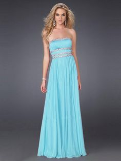 A-line Strapless Crystals Ruched Chiffon Floor-Length Beading Dress