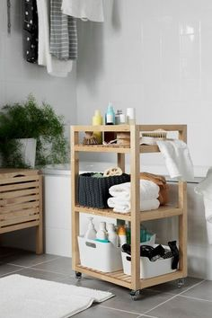 When your bathroom is organized, it's easier to get ready and head out the door faster! Find smart ways to organize your bathroom - from IKEA sink cabinets to bathroom accessories and everything in between. Ikea Sink Cabinet, Ikea Sinks, Ikea Bathroom, Bathroom Furniture, Bathroom Storage, Bathroom Cabinets, Bathroom Cart, Bathroom Baskets, Cabinet Space