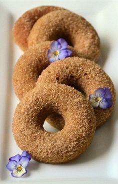 Cinnamon Sugar Donuts - eggs, Lakanto/honey (sub another sweetener), olive/coconut oil (if using a granular sweetener), blanched almond flour, baking soda, cream of tartar, vanilla extract, sea salt, cinnamon (optional), grated nutmeg (optional), optional icing/glazes (cinnamon + Lakanto/coconut sugar, chocolate chips, vanilla icing, strawberry icing, coconut icing)