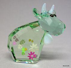 #Swarovski Austria Figurine #FlowerMo Cow Green Limited Ed 2009 Box Cert 1027911