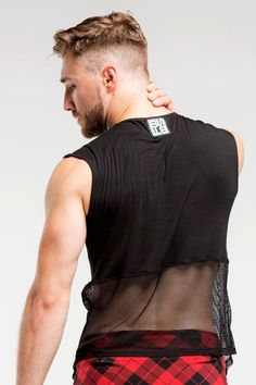 1/2 Mesh SleevelessTop | Men | Black- Brian Says B Free