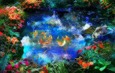 #Cats #Blue evening, art, fine art photography, Cats, cat art, fish ponds, colorful art, Signore