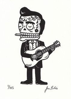 Johnny Cash Calavera Limited Edition Gocco by MisNopalesArt