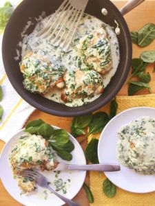Baked Chicken Thighs with Creamy Garlic Spinach Sauce