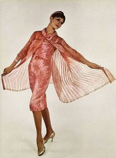 1959 Dress with Sheer Pleated Over Coat