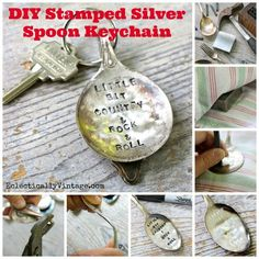 Want to learn how to make really cool metal stamped jewelry and other great DIY projects? Check out our tutorials and learn the art of DIY metal stamping Silverware Jewelry, Spoon Jewelry, Flatware, Diy Cadeau, Spoon Art, Creation Deco, Vintage Stamps, Vintage Gifts, Silver Spoons