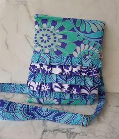 Ruffled iPad Bag in Aqua & Blue Sis Boom prints
