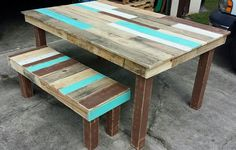 Pallet Dining Table and Bench Set