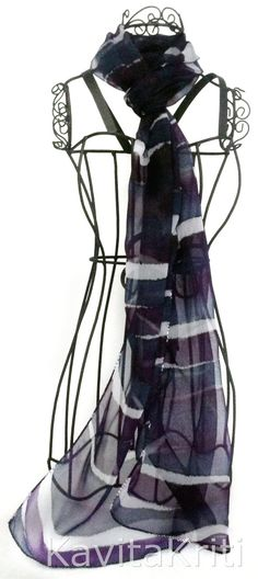 Two color scarf in Purple and Blue Gray, Fall fashion scarf by KavitaKriti  https://www.etsy.com/listing/161017187/dark-scarf-two-color-scarf-colorblock?ref=shop_home_active