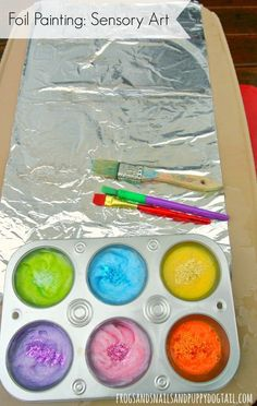 Foil Painting: Sensory Art – FSPDT Foil Painting: Sensory Art – FSPDT,All Things Preschool Foil Painting, no more complicated than regular painting set up/clean up but a new medium Related posts:Erleben Sie die raffiniertesten. Toddler Play, Toddler Crafts, Preschool Activities, Crafts For Kids, Therapy Activities, Baby Crafts, Preschool Science Experiments, Art Projects For Toddlers, Process Art Preschool