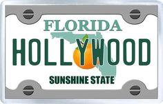 $3.29 - Acrylic Fridge Magnet: United States. License Plate of Hollywood Florida