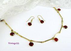 Vintage Necklace Red Crystal Bezel Earrings Pierced by Vintage55, $20.00