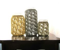 Items similar to Upcycled Candle Holders - Rustic Home Decor - Lace Knit - Cotton/Merino - Set of 3 - Yellow/Sage/Natural - One of a Kind Set on Etsy Rustic Candle Holders, Candle Set, Wedding Centerpieces Mason Jars, Diy Home Decor For Apartments, Cute Candles, Knitted Flowers, Lace Knitting, Knit Crochet, Diy Home Crafts