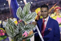 Luguelin Santos carries the flag of Dominican Republic during the opening ceremony for the 2016 Summer Olympics in Rio de Janeiro, Brazil, Friday, Aug. 5, 2016. (AP Photo/David Goldman) via @AOL_Lifestyle Read more: http://www.aol.com/article/2016/08/05/olympics-rio-kicks-off-games-with-ode-to-forests-favelas-and-fu/21446074/?a_dgi=aolshare_pinterest#fullscreen