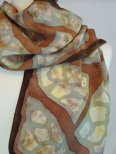 Women's Hand Painted Silk Charmeuse Scarf by FlingamoScarves