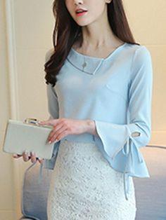 #AdoreWe #Fashionmia Fashionmia Asymmetric Neck Plain Chiffon Bell Sleeve T-Shirt - AdoreWe.com Kurta Designs Women, Kurti Neck Designs, Dress Neck Designs, Blouse Designs, Choli Dress, Stitching Dresses, Sleeves Designs For Dresses, Neckline Designs, Pakistani Dress Design