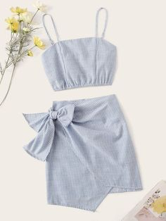 Product name: Pinstripe Shirred Back Cami Top & Knot Overlap Skirt Set at SHEIN, Category: Two-piece Outfits Crop Top Outfits, Cute Casual Outfits, Girly Outfits, Cute Summer Outfits, Kids Outfits, Girls Fashion Clothes, Teen Fashion Outfits, Fasion, Blazer En Tweed