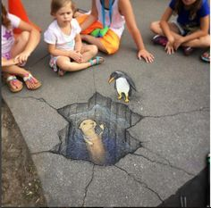 David Zinn - Trans-hemispheric birds-n-mammals meetup at the Detroit Zoo Murals Street Art, 3d Street Art, Amazing Street Art, Street Art Graffiti, Street Artists, Amazing Art, Graffiti Artists, David Zinn, Chalk Drawings