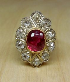 Vintage Antique 3.90ct Naural Unheated Untreated Ruby & Old Mine Cut diamonds 18k White Yellow Gold Unique Engagement Ring 1920's Art Deco by DiamondAddiction on Etsy
