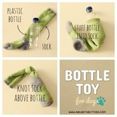 DIY dog toys - add something rattley to make it more interesting (and use a dirty sock of course, lol)