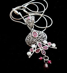 "Ruby Pearl Sterling Silver Necklace Red Gemstone Open Work Pendant 18"" Estate 