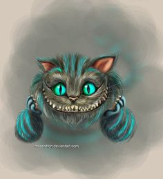 New cheshire cat from the new Alice in Wonderland movie directed by Tim Burton and featuring Johnny Depp as the Mad Hatter. Cheshire Cat Art, Cheshire Cat Tattoo, Cheshire Cat Alice In Wonderland, Chesire Cat, Tattoo Gato, Kitty Tattoos, Alicia Wonderland, Adventures In Wonderland, Wonderland Party
