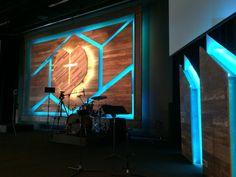 Cracked Wood - church stage designs of 2015                              … Church Interior Design, Church Design, Stage Lighting Design, Stage Set Design, Church Lobby, Church Foyer, Kids Church, Church Ideas, Church Backgrounds