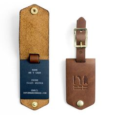 Leather Luggage Tag With Personalised Insert by Man Gun Bear, the perfect gift for Explore more unique gifts in our curated marketplace. Travel Accessories For Men, Leather Accessories, Leather Keychain, Leather Wallet, Diy Leather Luggage Tags, Luggage Tag Diy, Mens Travel, Leather Projects, Leather Buckle
