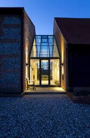 We combine lighting design flair, technical expertise and a wealth of construction & project management experience. Cottage Extension, House Extension Design, Glass Extension, House Design, Glass Walkway, Oak Framed Buildings, Contemporary Barn, Modern Barn, Architectural Lighting Design