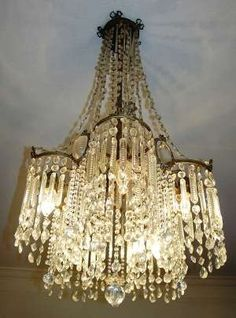 French bronze crystal chandelier with five lights, from the Robbs dining room in Talladega.