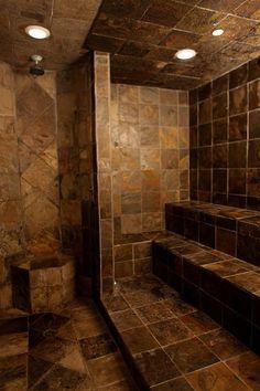 steam room- Exactly what I want! Bathroom Spa, Small Bathroom, Bathroom Ideas, Shower Ideas, Modern Bathtub, Modern Bathroom, Steam Sauna, Whirlpool Tub, Steam Room
