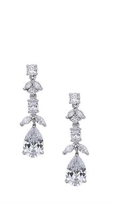 Inspired by the floral gardens of France, these glamorous marquis and pear CZ earrings add a beautiful touch of sparkle for a feminine look.  | Nina Shoes Daria http://ninashoes.com/daria-drop-earring-rhodium--19252?c=560&utm_source=Pinterest&utm_medium=Social%20Media%20Campaign&utm_campaign=Daria