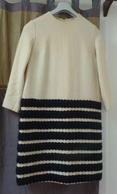 Vintage Marimekko Handwoven Wool Off White Dress