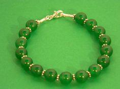 Green Jade Gemstone Jewelry Bracelet by EVRCreations on Etsy, $25.00