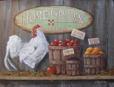 Rooster Decor Rooster Art Print and by RusticPrimitivesEtc Rooster Art, Rooster Decor, Rooster Painting, Chicken Painting, Chicken Art, Country Chicken, Wall Art Prints, Canvas Prints, Canvas Canvas