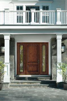 2 Panel Solid Fiberglass Door Entry Door With Sidelights, Door Entry, Front Entry, Entrance, Craftsman Door, Craftsman Style, Fiberglass Entry Doors, Double Front Doors, Grey Paint