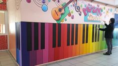 Ideas For Wall Display School Hallways School Hallways, School Murals, Art School, Music School, Classroom Walls, Music Classroom, Classroom Decor, Ecole Design, Kindergarten Design