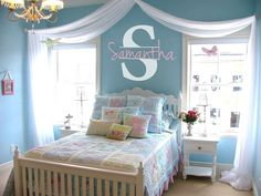 little girl room decorating ideas   Personalized Name  Initial Vinyl Wall Decal by Allstarsports